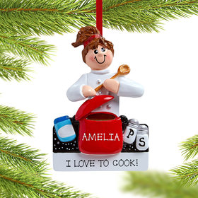 Personalized Loves to Cook Christmas Ornament