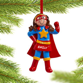 Personalized Superhero Girl Christmas Ornament
