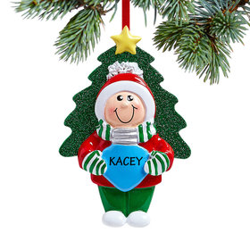 Personalized Boy Holding Christmas Bulb Christmas Ornament