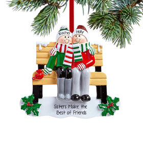 Personalized Park Bench Siblings Christmas Ornament