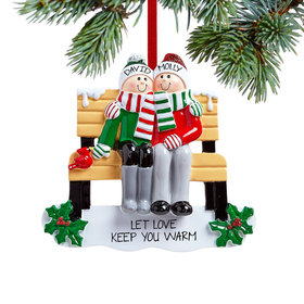 Personalized Park Bench Couple Christmas Ornament