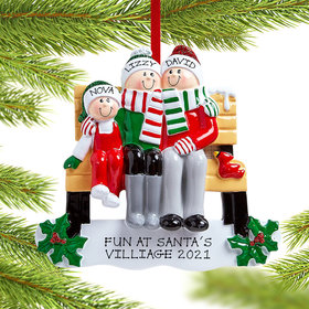 Personalized Park Bench Family of 3 Christmas Ornament