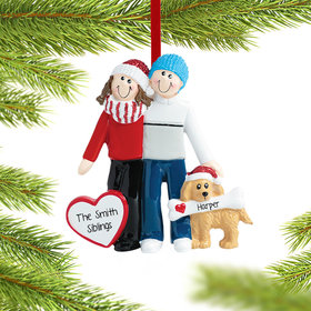 Personalized Siblings with Dog Christmas Ornament