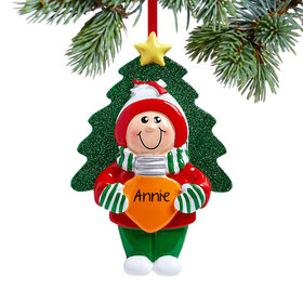 Personalized Girl Holding Christmas Bulb Christmas Ornament