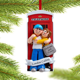 Personalized Couple in London Phone Booth Christmas Ornament