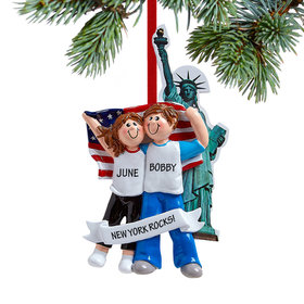 Personalized Couple in New York City Christmas Ornament