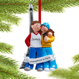 Personalized Couple Visiting Eiffel Tower Christmas Ornament