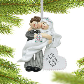 Personalized Carry Over The Threshold Wedding Couple Christmas Ornament