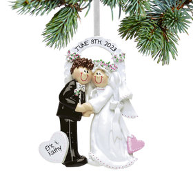 Personalized Arch Bride & Groom Christmas Ornament