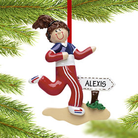 Personalized Jogger Girl Christmas Ornament