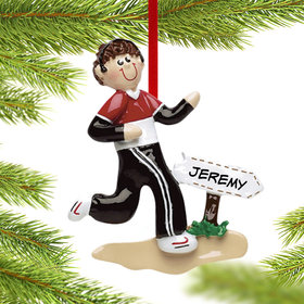 Personalized Jogger Boy Christmas Ornament