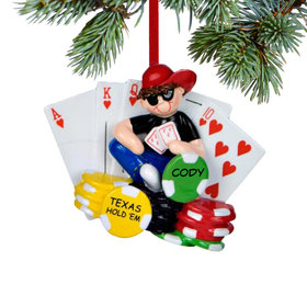 Personalized Poker Player Christmas Ornament