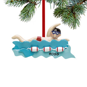Personalized Swimmer Boy Christmas Ornament