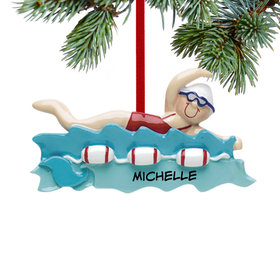Personalized Swimmer Girl Christmas Ornament