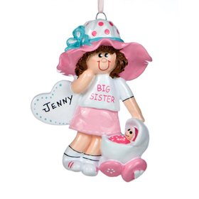 Personalized Big Sister with Dolly Baby Buggy Christmas Ornament