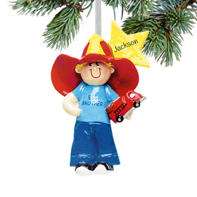 Personalized Big Brother with Firetruck and Yellow Star Christmas Ornament