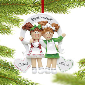 Personalized Friends or Sisters with Hearts Christmas Ornament