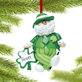 Personalized Irish Santa Leprechaun Christmas Ornament