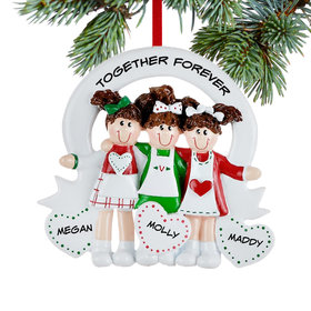 Personalized Friends or Sisters with Hearts 3 Christmas Ornament
