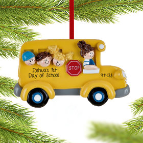 Personalized School Bus with Kids Christmas Ornament