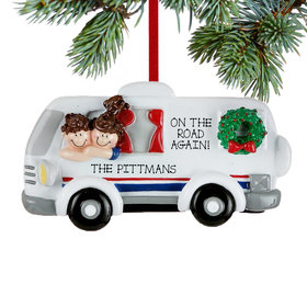 Personalized Couple in Motor Home Christmas Ornament