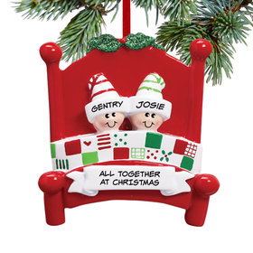 Personalized Bed Family 2 Christmas Ornament