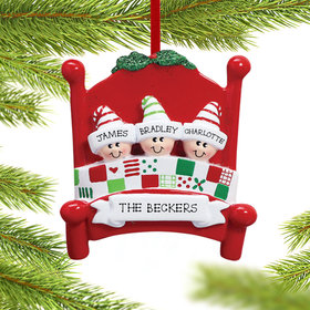 Personalized Bed Family 3 Christmas Ornament