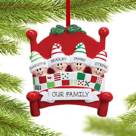 Personalized Bed Family 4 Christmas Ornament