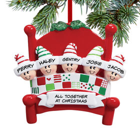 Personalized Bed Family 5 Christmas Ornament