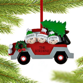 Personalized Car Family 3 Christmas Ornament