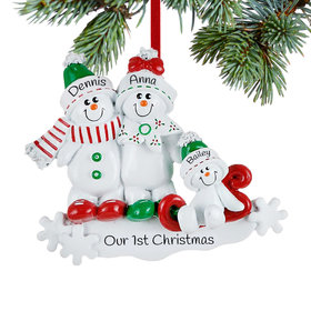 Personalized Snow Family Sled 3 Christmas Ornament