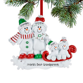 Personalized Grandparents Snow Family Sled Christmas Ornament