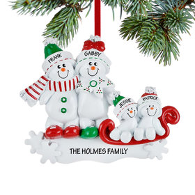 Personalized Snow Family Sled 4 Christmas Ornament