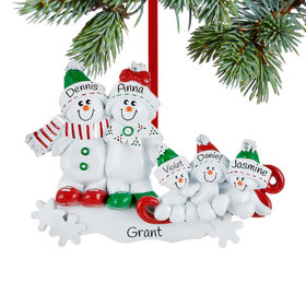 Personalized Snow Family Sled 5 Christmas Ornament