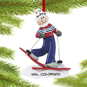 Personalized Adult Female Skier Christmas Ornament