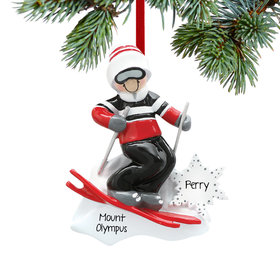 Personalized Boy Skier with Goggles Christmas Ornament
