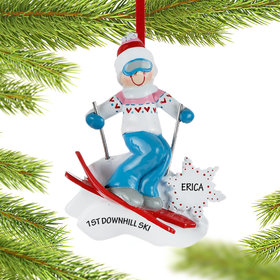 Personalized Girl Skier with Goggles Christmas Ornament