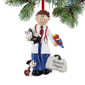 Personalized Veterinarian Male Christmas Ornament