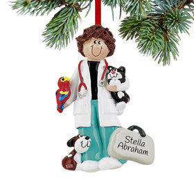 Personalized Veterinarian Female Christmas Ornament