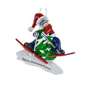 Personalized Skier in Tree Christmas Ornament