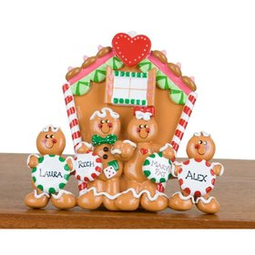 Personalized Family of 4 Gingerbread House Christmas Ornament