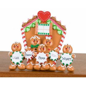 Personalized Family of 5 Gingerbread House Christmas Ornament