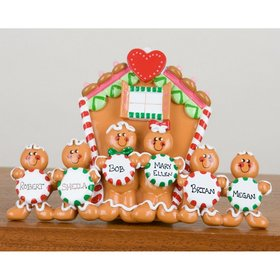Personalized Family of 6 Gingerbread House Christmas Ornament