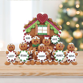 Personalized Family of 7 Gingerbread House Christmas Table