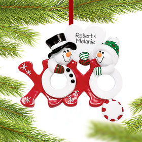 Personalized Hugs and Kisses Couple Christmas Ornament