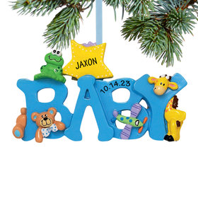Personalized Baby Letters - Boy Christmas Ornament