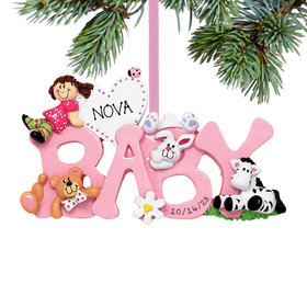 Personalized Baby Letters - Girl Christmas Ornament
