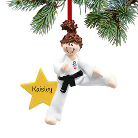 Personalized Karate Kicking Girl Christmas Ornament