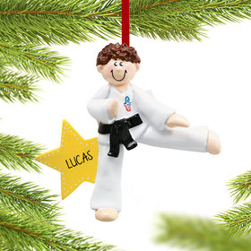 Personalized Karate Kicking Boy Christmas Ornament