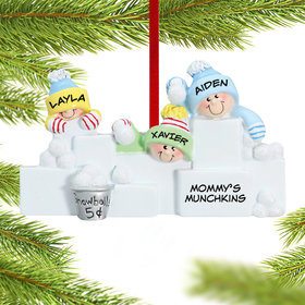 Personalized Snowball Fight 3 Christmas Ornament